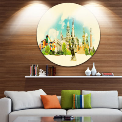 Design Art Buenos Aires Panoramic View Disc Cityscape Watercolor Circle Metal Wall Art