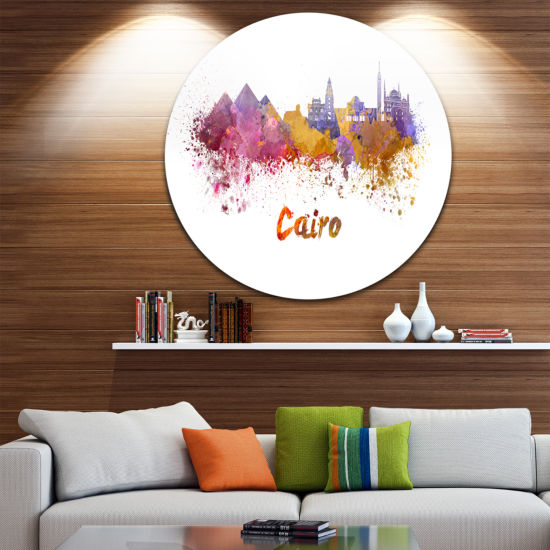 Design Art Cairo Skyline Disc Cityscape Metal Artwork Print