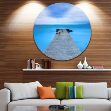 Design Art Broken Concrete Jetty Seascape Circle Metal Wall Art