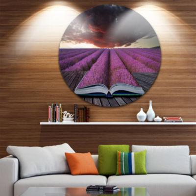 Design Art Book Open to Lavender Field Disc FloralCircle Metal Wall Art