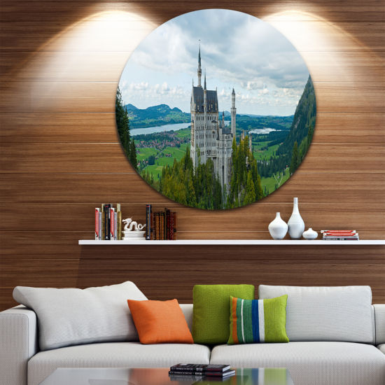 Design Art Castle Neuschwan Landscape Disc Photography Circle Metal Wall Art