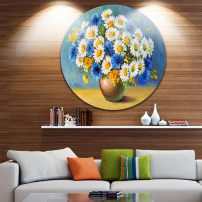Design Art Bouquet of Spring Flowers Floral CircleMetal Wall Art