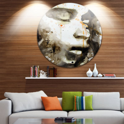 Design Art Brown Illustrated Girl Disc Abstract Portrait Circle Metal Wall Art
