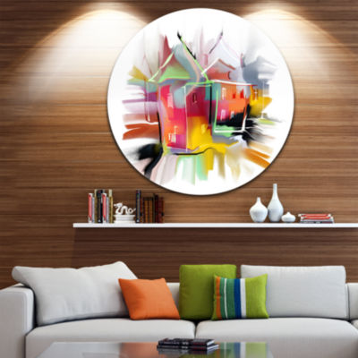 Design Art Building Illustration Disc ContemporaryCircle Metal Wall Art
