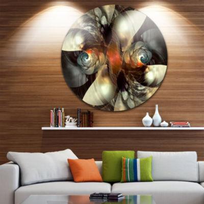 Design Art Brown Fractal Artwork Disc Abstract Circle Metal Wall Art