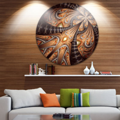 Design Art Brown Symmetrical Fractal Flower Abstract Round Circle Metal Wall Decor