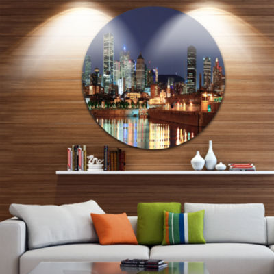 Design Art Bright Montreal at Dusk Disc CityscapePhotography Circle Metal Wall Art