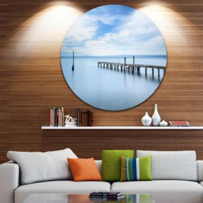 Design Art Bright Sky and Blue Sea Seascape CircleMetal Wall Art