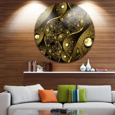 Design Art Brown Metallic Fabric Pattern Disc Large Contemporary Circle Metal Wall Arts