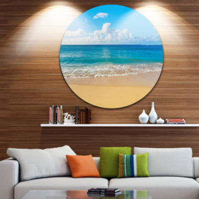 Design Art Calm Beach and Tropical Sea Disc Photography Circle Metal Wall Art