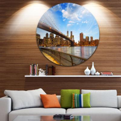 Design Art Calm Sky Over Brooklyn Bridge CityscapePhoto Circle Metal Wall Art