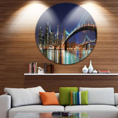 Design Art Brooklyn Bridge Panorama Cityscape Photo Circle Metal Wall Art