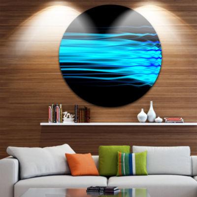 Design Art Bright Blue Fractal Waves Abstract Arton Round Circle Metal Wall Decor Panel