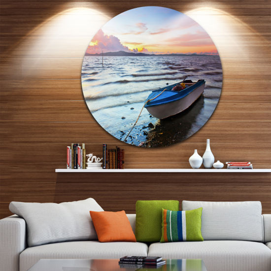 Design Art Boat at the Sunset Disc Landscape Photography Circle Metal Wall Art