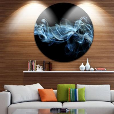 Design Art Blue Smoke in Black Abstract Circle Metal Wall Art