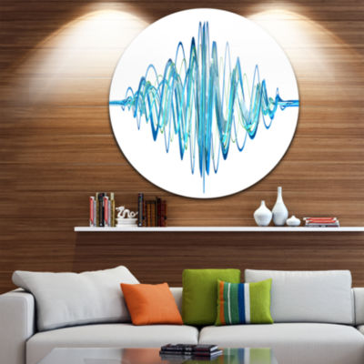 Design Art Blue Circled Waves Abstract Circle Metal Wall Art