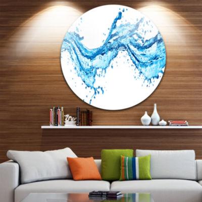 Design Art Blue Water Splashes Abstract Circle Metal Wall Art