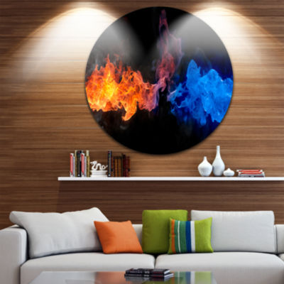 Design Art Blue and Red Fire Disc Contemporary Artwork on Circle Metal Wall Art