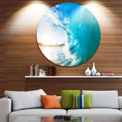 Design Art Blue Waves Arch Disc Seascape Photography Circle Metal Wall Art