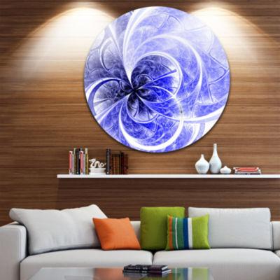 Design Art Blue Light Fractal Flower Pattern Abstract Round Circle Metal Wall Decor