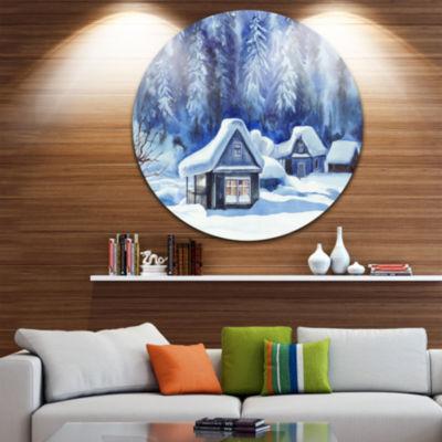Design Art Blue Winter Cottages Disc Landscape Circle Metal Wall Art