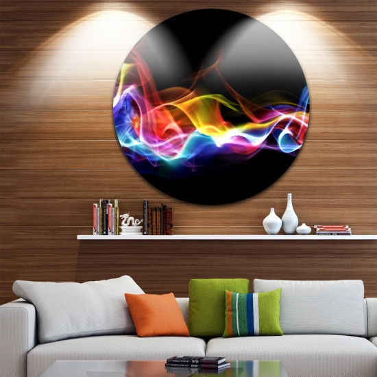 Design Art Blue Yellow Waves in Black Abstract Circle Metal Wall Art