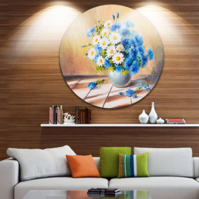 Design Art Bouquet on Wooden Table Floral Metal Circle Wall Art