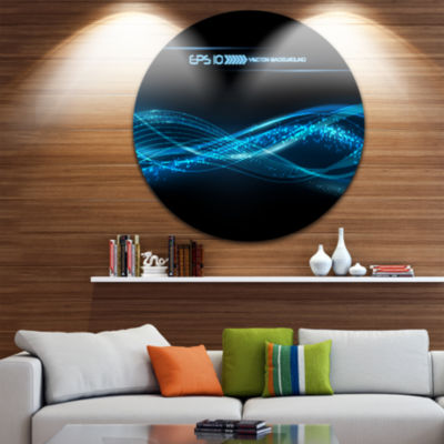 Design Art Blue Abstract Vector Pattern Disc Contemporary Circle Metal Wall Art