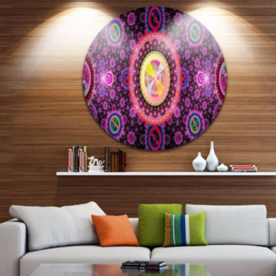 Design Art Bright Pink Psychedelic Relaxing Art Abstract Round Circle Metal Wall Decor