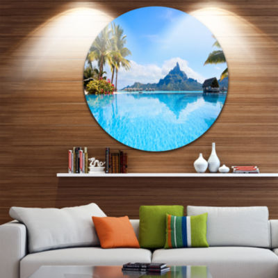 Design Art Bora Bora Landscape Disc Photography Circle Metal Wall Art