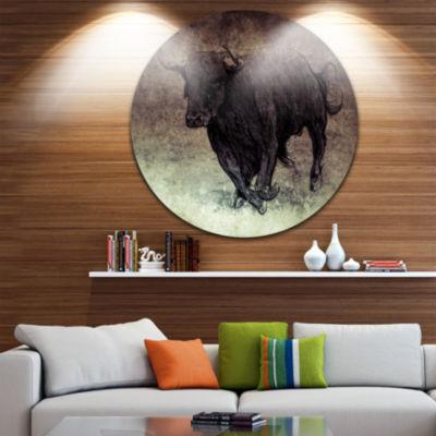 Design Art Bull Running on Vintage Paper Animal Circle Metal Wall Art