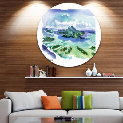 Design Art Bora Bora Vector Illustration Disc Cityscape Painting Circle Metal Wall Art