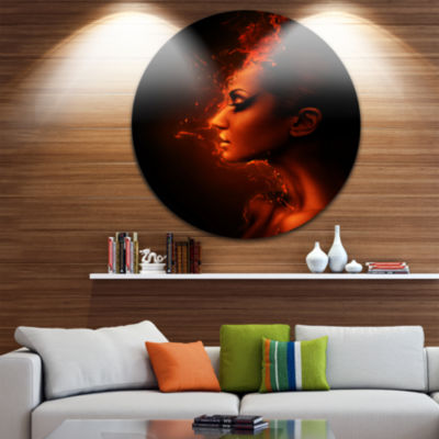 Design Art Burning Woman Head Disc Portrait Contemporary Circle Metal Wall Art
