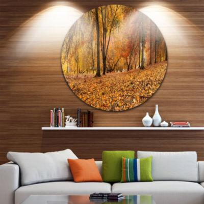 Design Art Brown Autumn Panorama Disc Landscape Photography Circle Metal Wall Art