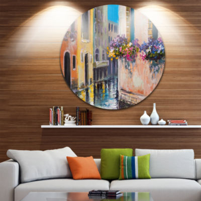Design Art Canal in Venice with Flowers CityscapeCircle Metal Wall Art