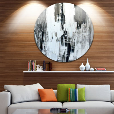 Design Art Brown and Beige Painting Abstract Circle Metal Wall Art