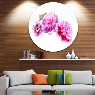 Design Art Bright Pink Peony Flowers Disc Floral Circle Metal Wall Art