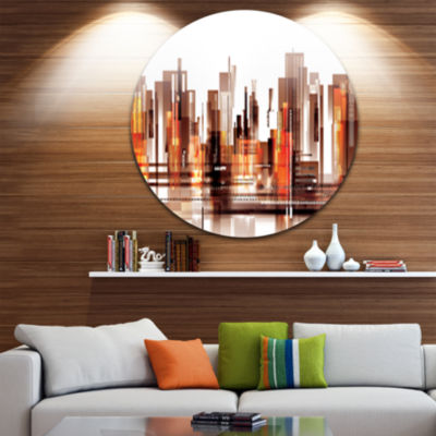 Design Art Brown City Skyline Disc Cityscape Circle Metal Wall Art