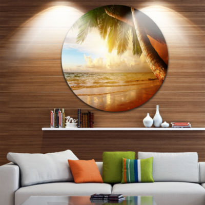 Design Art Caribbean Beach Sunrise Disc LandscapePhoto Circle Metal Wall Art