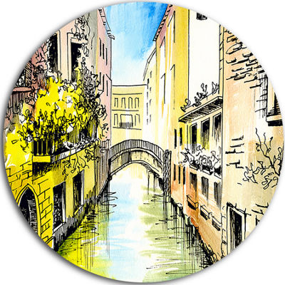 Design Art Canal in Venice Cityscape Metal Artwork