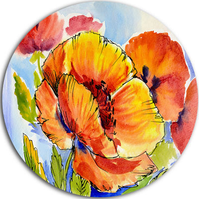 Design Art Bouquet of Full Blown Poppies Floral Circle Metal Wall Art