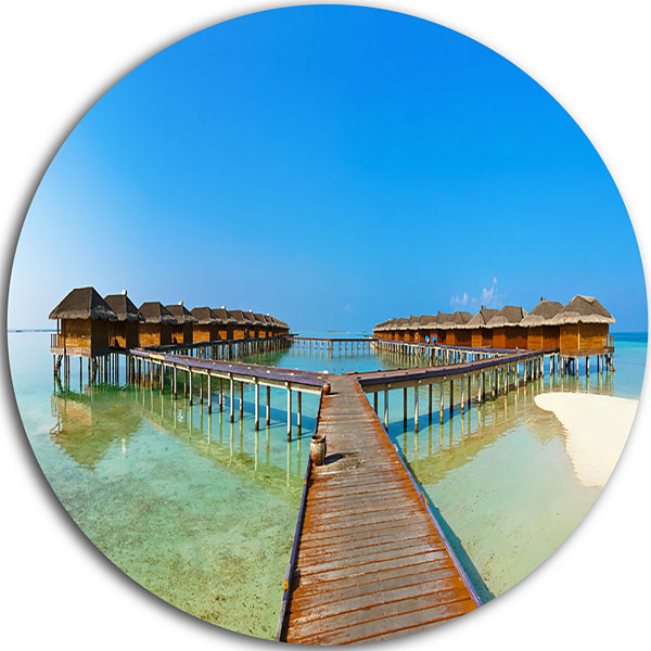 Design Art Bungalows in Maldives Island LandscapePhotography Circle Circle Metal Wall Art