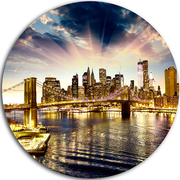 Design Art Brooklyn Bridge and Manhattan Skyline Disc Cityscape Circle Metal Wall Art