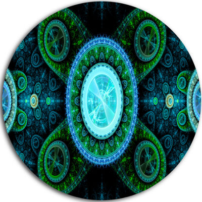 Design Art Bright Blue Psychedelic Relaxing Art Abstract Round Circle Metal Wall Decor
