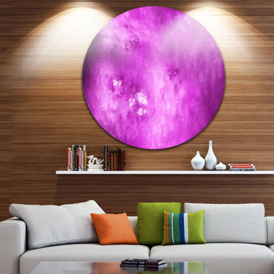 Design Art Bright Purple Sky with Stars Abstract Round Circle Metal Wall Decor