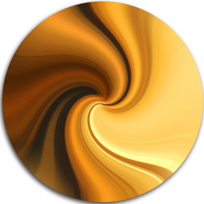 Design Art Brown Waves Curved Texture Abstract Circle Metal Wall Art