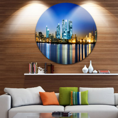 Design Art Canary Wharf London Disc Cityscape Photo Circle Metal Wall Art