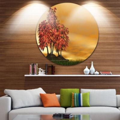 Design Art Bonsai Landscape Disc Photography Circle Metal Wall Art