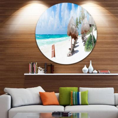 Design Art Caribbean Beach Panorama Landscape Photography Circle Metal Wall Art