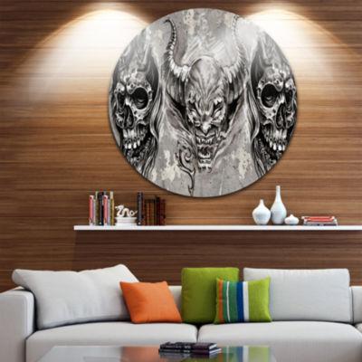 Design Art 3 Demons Tattoo Sketch Abstract Portrait Circle Metal Wall Art